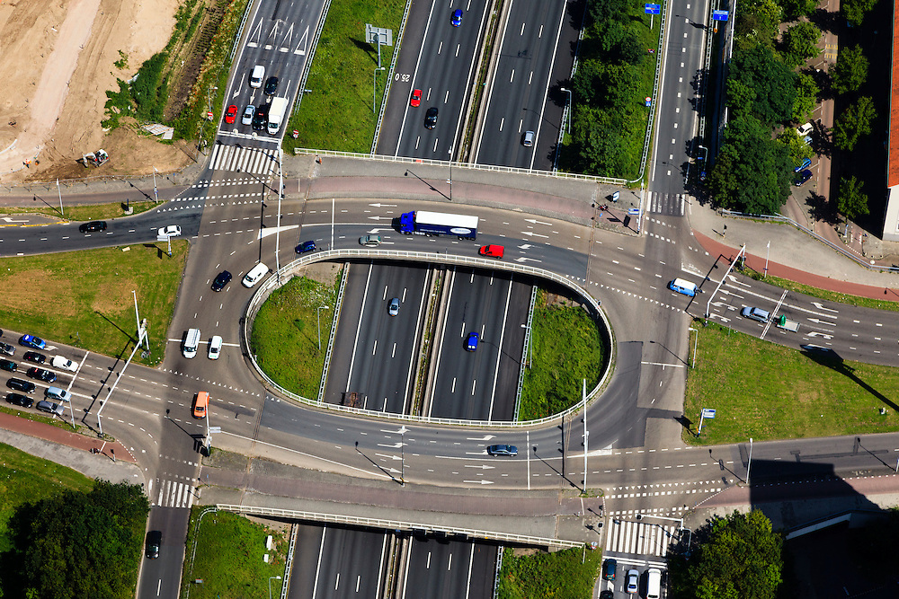 Nederland, Noord-Holland, Amsterdam, 14-06-2012; Ring A10, Einsteinweg (vlnr), kruising met Jan van Galenstraat. ..Details of a 10 Ring road intersection/fly-over in between houses, a hospital and playing fields in an Amsterdam-west residential area..luchtfoto (toeslag), aerial photo (additional fee required).foto/photo Siebe Swart