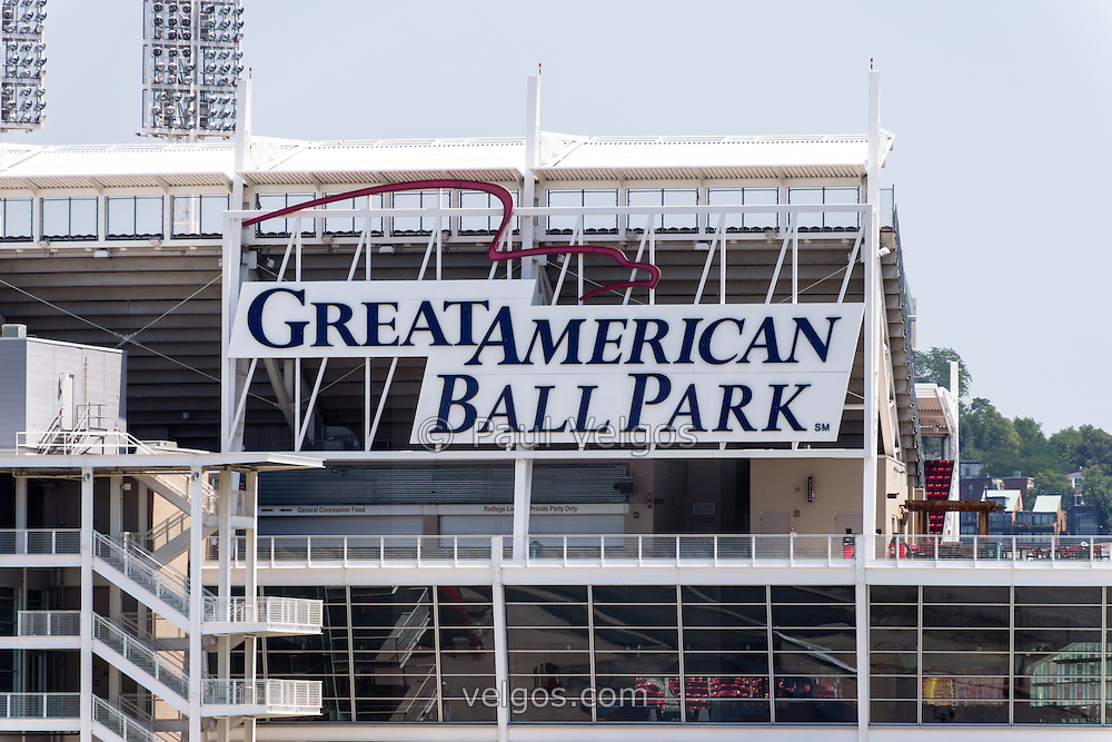 Photo of the Great American Ball Park sign in Cincinnati, Ohio. Great American Ballpark is a sports stadium and home to the Major League Baseball team the Cincinnati Reds. The new venue replaced Riverfront Stadium (Cinergy Field) in 2003 and is named after the Great American Insurance Group company.