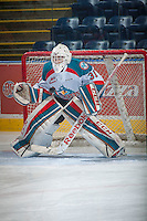 KELOWNA, CANADA - DECEMBER 30: Jake Morrissey #31 of Kelowna Rockets warms up against the Prince George Cougars on December 30, 2014 at Prospera Place in Kelowna, British Columbia, Canada.  (Photo by Marissa Baecker/Shoot the Breeze)  *** Local Caption *** Jake Morrissey #31;