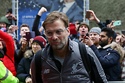 Liverpool manager Jurgen Klopp arrives off the coach during the Premier League match between Brighton and Hove Albion and Liverpool at the American Express Community Stadium, Brighton and Hove, England on 12 January 2019.