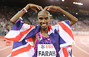 """Mo Farah aka Mohamed Farah (GBR) does the """"Mobot"""" pose after winning the 5,000m in 13:06.05 during the Weltklasse Zurich in an IAAF Diamond League meeting at Letzigrund Stadium in Zurich, Switzerland on Thursday, August 24, 2017.   (Jiro Mochizuki/Image of Sport)"""
