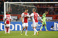Onderwerp/Subject: Ajax - Champions League<br /> Reklame:  <br /> Club/Team/Country: <br /> Seizoen/Season: 2013/2014<br /> FOTO/PHOTO: Joel VELTMAN (L) of Ajax is leaving the pitch after a red card with Viktor FISCHER (R) of Ajax. (Photo by PICS UNITED)<br /> <br /> Trefwoorden/Keywords: <br /> #03 #05 $94 &plusmn;1377840750319<br /> Photo- &amp; Copyrights &copy; PICS UNITED <br /> P.O. Box 7164 - 5605 BE  EINDHOVEN (THE NETHERLANDS) <br /> Phone +31 (0)40 296 28 00 <br /> Fax +31 (0) 40 248 47 43 <br /> http://www.pics-united.com <br /> e-mail : sales@pics-united.com (If you would like to raise any issues regarding any aspects of products / service of PICS UNITED) or <br /> e-mail : sales@pics-united.com   <br /> <br /> ATTENTIE: <br /> Publicatie ook bij aanbieding door derden is slechts toegestaan na verkregen toestemming van Pics United. <br /> VOLLEDIGE NAAMSVERMELDING IS VERPLICHT! (&copy; PICS UNITED/Naam Fotograaf, zie veld 4 van de bestandsinfo 'credits') <br /> ATTENTION:  <br /> &copy; Pics United. Reproduction/publication of this photo by any parties is only permitted after authorisation is sought and obtained from  PICS UNITED- THE NETHERLANDS