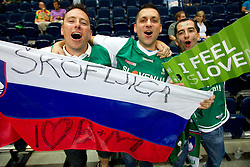Fans of Slovenia during basketball game between National basketball teams of Slovenia and Greece at FIBA Europe Eurobasket Lithuania 2011, on September 8, 2011, in Siemens Arena,  Vilnius, Lithuania. Greece defeated Slovenia 69-60.  (Photo by Vid Ponikvar / Sportida)