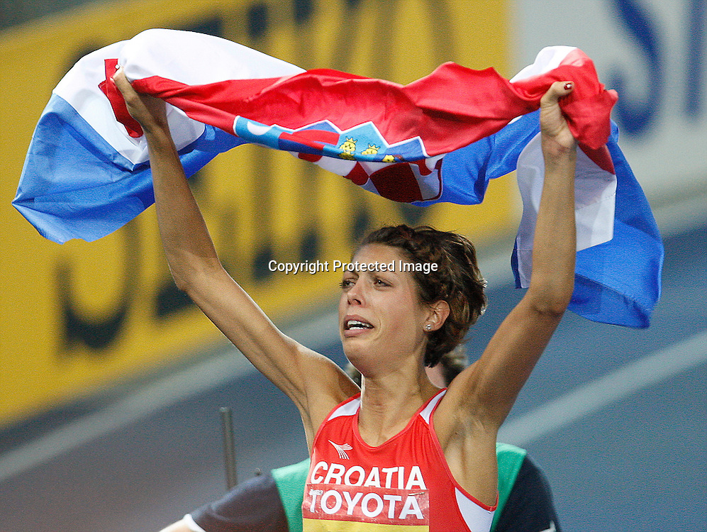Blanka Vlasic of Croatia celebrates after winning the women's high jump final during the 12th IAAF Athletic World Championships at the Olympic Stadium in Berlin, Germany, 20 August 2009. Photo: Piotr Hawalej / WROFOTO / PHOTOSPORT