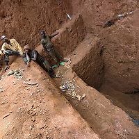 Local mining for gold in the village of Mongbwalu in Eastern Congo. The tunnels that are dug into the ground are increasingly dangerous.