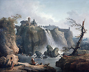 Waterfalls at Tivoli', oil on canvas by  Hubert Robert (1733-1808) Franch painter.  On the rock above the falls is the Temple of Vesta.