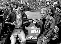 Jack Tordoff, right, and co-driver, Phil Short, UK, celebrate winning 1973 Circuit of Ireland Motor Rally. 24th April 1973. 197304240217d<br /> <br /> Copyright Image from Victor Patterson, Belfast, UK, BT9 5HG<br /> <br /> t: +44 28 9066 1296 (from Rep of Ireland 048 9066 1296)<br /> m: +44 7802 353836<br /> <br /> victorpattersonbelfast@gmail.com<br /> www.victorpatterson.com<br /> <br /> Please see my Terms and Conditions of Use at https://www.victorpatterson.com/page2<br /> It is IMPORTANT that you familiarise yourself with them.<br /> <br /> Images used on the Internet incur an additional cost and must be visibly watermarked i.e. © Victor Patterson within the body of the image and copyright metadata must not be deleted. Images used on the Internet have a size restriction of 4kbs and are chargeable at rates available at victorpatterson.com.<br /> <br /> This image is only available for the use of the download recipient i.e. television station, newspaper, magazine, book publisher, etc, and must not be passed on to any third party. It is also downloaded on condition that each and every usage is notified within 7 days to victorpattersonbelfast@gmail.com.