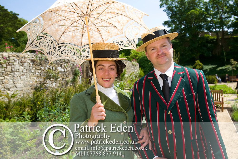 Princess Beatrice Garden,  Edwardian Couple, Garden, Carisbrooke Castle, Newport, isle of Wight, England, UK Photographs of the Isle of Wight by photographer Patrick Eden photography photograph canvas canvases