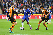 Chelsea midfielder Willian (22) makes his way past Hull City defender Andrew Robertson (3) and \6\ during the Premier League match between Hull City and Chelsea at the KCOM Stadium, Kingston upon Hull, England on 1 October 2016. Photo by Ian Lyall.