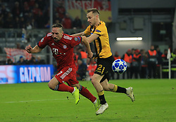 07.11.2018, Champions League, FC Bayern vs AEK Athen, Allianz Arena  Muenchen,  Fussball, Sport, im Bild:...Franck Ribery (FCB) vs Michalis Bakakis ( AEK Athen )..DFL REGULATIONS PROHIBIT ANY USE OF PHOTOGRAPHS AS IMAGE SEQUENCES AND / OR QUASI VIDEO...Copyright: Philippe Ruiz..Tel: 089 745 82 22.Handy: 0177 29 39 408.e-Mail: philippe_ruiz@gmx.de. (Credit Image: © Philippe Ruiz/Xinhua via ZUMA Wire)