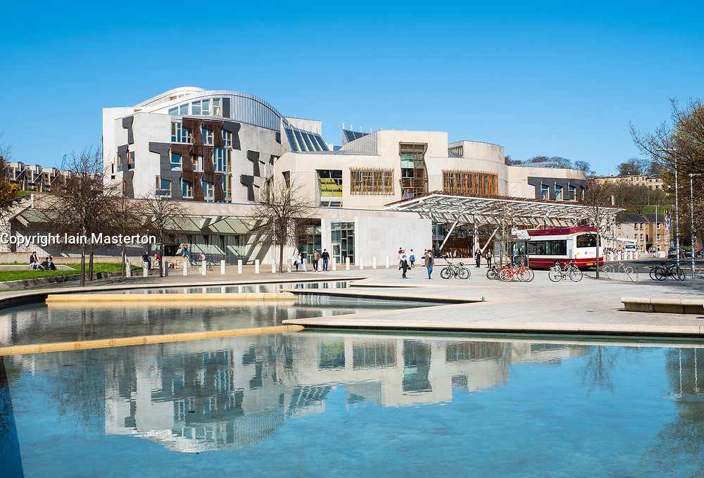 Exterior view of Scottish Parliament building at Holyrood in Edinburgh, Scotland, United Kingdom