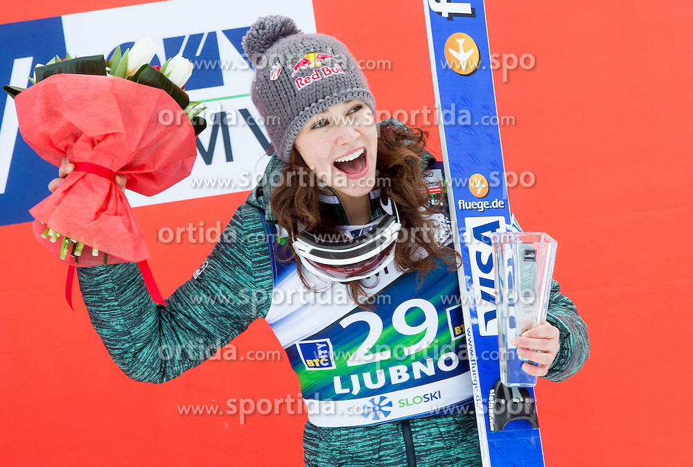 Third placed Sarah Hendrickson (USA) during Flower ceremony after the Final Round at Day 1 of World Cup Ski Jumping Ladies Ljubno 2015, on February 14, 2015 in Ljubno, Slovenia. Photo by Vid Ponikvar / Sportida