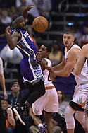 Mar 15, 2017; Phoenix, AZ, USA; Sacramento Kings guard Ty Lawson (10) makes a pass against the Phoenix Suns in the first half at Talking Stick Resort Arena. Mandatory Credit: Jennifer Stewart-USA TODAY Sports