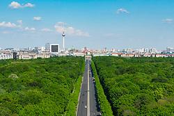 Skyline of Berlin and Tiergarten park towards Brandenburg Gate in Germany