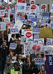 © Licensed to London News Pictures. 09/01/2016. London, UK.  Unions and medical staff take part in a rally against the proposed cancellation of bursaries for nurses hoping to train for work in the NHS.  Photo credit: Peter Macdiarmid/LNP