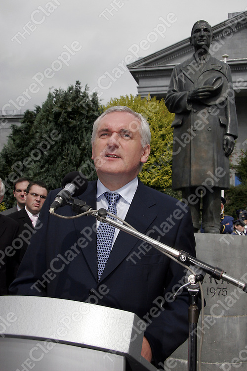 An Taoiseach Bertie Ahern during his speech at a memorial service for Eamon de Valera in Ennis on Saturday.<br /> <br /> Photograph by Yvonne Vaughan.
