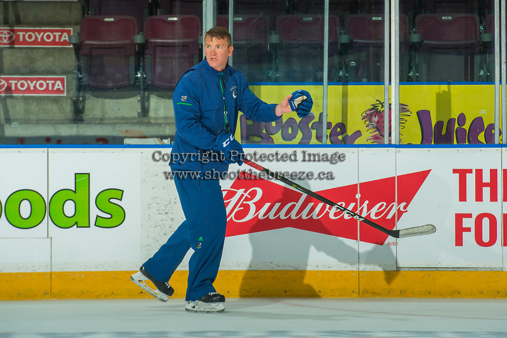 PENTICTON, CANADA - SEPTEMBER 9:  Vancouver Canucks head coach skates during morning ice on September 9, 2017 at the South Okanagan Event Centre in Penticton, British Columbia, Canada.  (Photo by Marissa Baecker/Shoot the Breeze)  *** Local Caption ***
