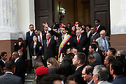 Nicolas Maduro Moro just after sworn cerimony address people outsied the National Assembly.