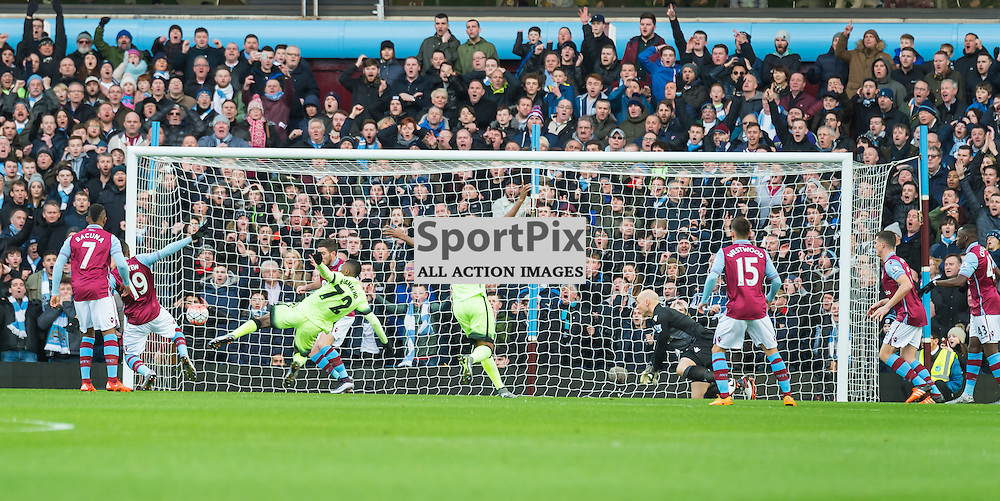 Manchester City forward Kelechi Iheanacho (72) scores the opening goal in the FA cup 4th Round game between Aston Villa and Manchester City<br /> <br /> <br /> <br /> <br /> (c) John Baguley | SportPix.org.uk