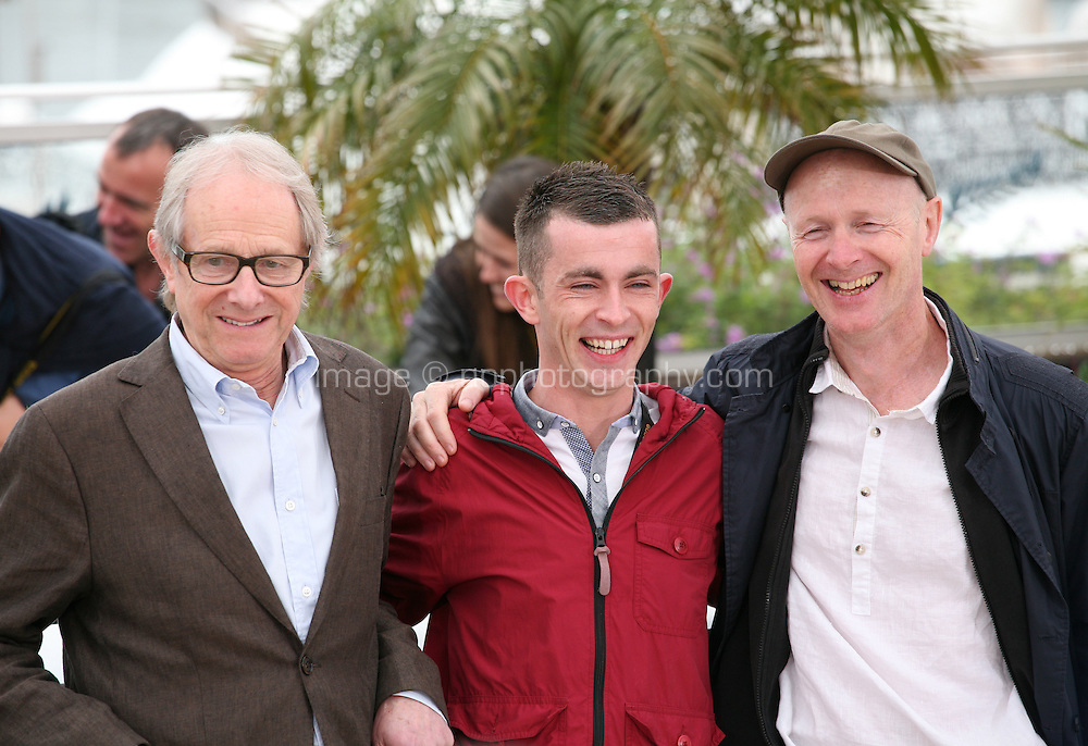 Ken Loach, Paul Brannigan, Paul Laverty, at The Angel?s Share photocall at the 65th Cannes Film Festival France. The Angel's Share is directed by Ken Loach. Tuesday 22nd May 2012 in Cannes Film Festival, France.