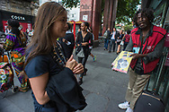 London, 17/08/2017: homeless sellings &quot;The Big Issue&quot; magazine, Brixton.<br /> &copy; Andrea Sabbadini