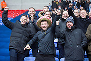 Wycombe Wanderers fans during the EFL Sky Bet League 1 match between Bolton Wanderers and Wycombe Wanderers at the University of  Bolton Stadium, Bolton, England on 15 February 2020.