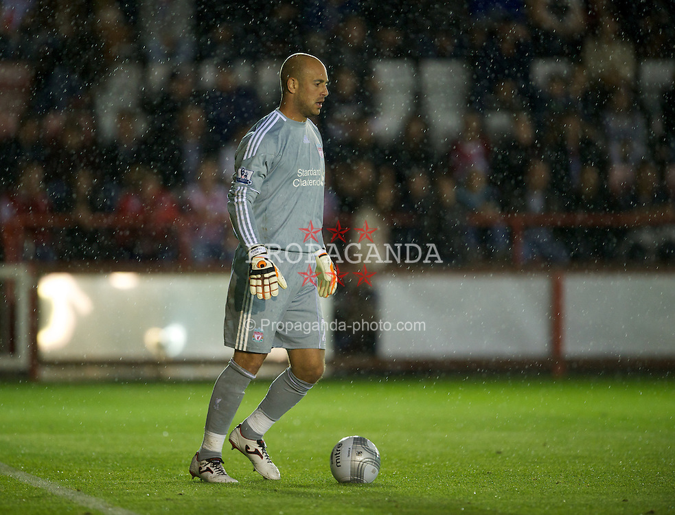 EXETER, ENGLAND - Wednesday, August 24, 2011: Liverpool's goalkeeper Jose Reina in action against Exeter City during the Football League Cup 2nd Round match at St James Park. (Pic by David Rawcliffe/Propaganda)