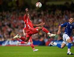 CARDIFF, WALES - Friday, September 5, 2008: Wales' Robert Earnshaw in action against Azerbaijan during the opening 2010 FIFA World Cup South Africa Qualifying Group 4 match at the Millennium Stadium. (Photo by David Rawcliffe/Propaganda)