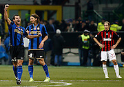 "Dejan Stankovic celebrates scoring with Zlatan Ibrahimovic.Milano 15/2/2009 Stadio ""Giuseppe Meazza"".Campionato Italiano Serie A.Inter Milan."