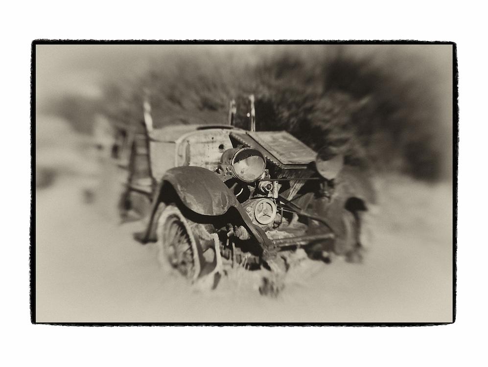 Abandoned Car - Joshua Tree National Park -Lensbaby - Sepia Black & White - Custom Border