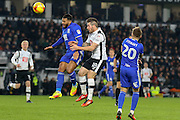 Birmingham City midfielder David Davis and Derby County midfielder Jacob Butterfield battle for the ball in the air during the EFL Sky Bet Championship match between Derby County and Birmingham City at the iPro Stadium, Derby, England on 27 December 2016. Photo by Aaron  Lupton.