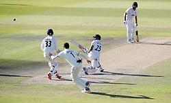 Essex batsmen Ravi Bopara hits out from the bowling of Lancashire's Liam Livingstone, on day three of the Specsavers County Championship, Division One match at Emirates Old Trafford, Manchester.