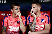 Atletico Madrid's French forward Antoine Griezmann (L) and Atletico Madrid's French defender Lucas Hernandez gesture as they attend the 2018 International Champions Cup match between Atletico Madrid and Inter Milan at the Wanda Metropolitano in Madrid, Spain on August 11, 2018 - Picture by Benjamin Cremel / ProSportsImages / DPPI