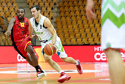 Jonathan Tabu of Belgium and Goran Dragic of Slovenia during friendly basketball match between National teams of Slovenia and Belgium at day 2 of Adecco Cup 2016, on August 6 in Zlatorog, Celje, Slovenia. Photo by Matic Klansek Velej / Sportida