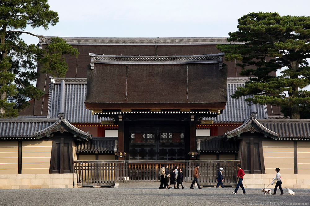 "Entrance to the contemporary Imperial Palace in Kyoto, that was build in the same location where the Heian era Imperial palace used to stand. Lady Murasaki that wrote ""The Tale of Genji"" 1000 years ago, used to live there.."