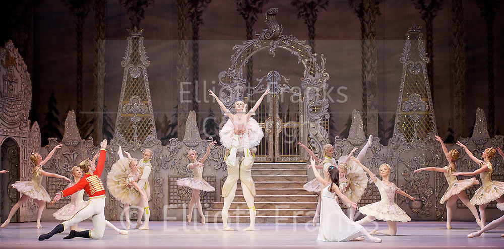 The Nutcracker<br /> <br /> Choreography by Peter Wright after Lev Ivanov<br /> Music by Tchaikovsky<br /> <br /> The Royal Ballet at the Royal Opera House, Covent Garden, London, Great Britain <br /> <br /> Pre-General Rehearsal <br /> <br /> 7 December 2015 <br /> <br /> <br /> Francesca Hayward as Clara  <br /> <br /> Alexander Campbell as Hans-Peter / The Nutcracker <br /> <br /> <br /> Yasmine Naghdi as Rose Fairy in the centre <br /> <br /> <br /> <br /> Photograph by Elliott Franks <br /> Image licensed to Elliott Franks Photography Services