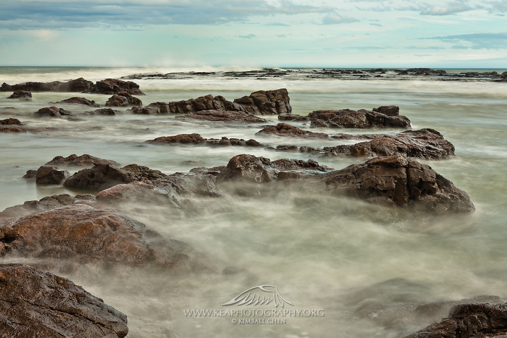 The rugged Curio Bay at high tide, Catlins, New Zealand