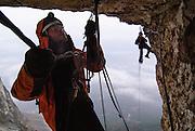 Ben Pritchard aid climbing on Vertigine, Monte Brento