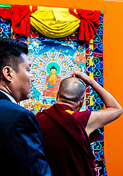 Dalai Lama during his teaching and the opening of exhibition on The Life of the Buddha at De Nieuwe Kerk in Amsterdam, The Netherlands. 15 Sep 2018 Pictured: Dalai Lama during his teaching and the opening of exhibition on The Life of the Buddha at De Nieuwe Kerk in Amsterdam, The Netherlands. Photo credit: MEGA TheMegaAgency.com +1 888 505 6342