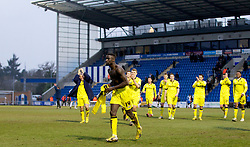COLCHESTER, ENGLAND - Saturday, February 23, 2013: Tranmere Rovers' Zoumana Bakayogo celebrates his side's 5-1 win over Colchester United after the Football League One match at the Colchester Community Stadium. (Pic by Vegard Grott/Propaganda)
