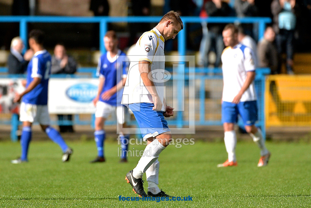 A disappointed Jake Reed of Lowestoft Town following the Conference North match at Bower Fold, Stalybridge<br /> Picture by Ian Wadkins/Focus Images Ltd +44 7877 568959<br /> 12/09/2015