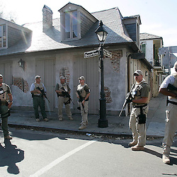 The Black Water Security consultants stand guard on  Bourbon St. in the french Quarter of New Orleans during the aftermath of Hurricane Katrina that has destroyed New Orleans, Louisiana and parts of Mississippi Wednesday, September 7, 2005 in New Orleans,Louisiana.<br /> (Pasadena Star-News Keith Birmingham)