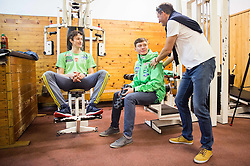 Peter Prevc, Anze Lanisek and Tomi Trbovc during fitness training of Slovenian Ski jumping National A team, on May 6, 2016, in Stadium Kranj, Slovenia.Photo by Vid Ponikvar / Sportida