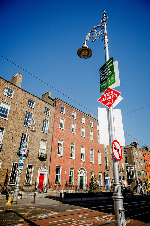 A Collection of Referendum Posters on Harcourt Street in support of the Yes campaign