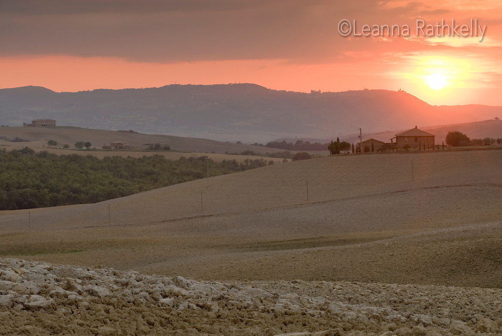 Sunset over the Tuscan landscape  near D'Orcia.