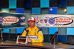 FONTANA, CA - JUNE 26 Simon Pagenaud of France, driver of the #22 Penske Truck Rental Dallara Chevrolet celebrates after earning pole position during qualifying for the Verizon IndyCar Series MAVTV 500 IndyCar Race at the Auto Club Speedway on June 26, 2015 in Fontana, California. Simon Pagenaud earned his second career Indy car pole and first on an oval in leading a Team Penske sweep of the front row for the MAVTV 500 with a two-lap average speed of 218.952 mph on the 2-mile Auto Club Speedway. 2015 June 26. Byline, credit, TV usage, web usage or linkback must read SILVEXPHOTO.COM. Failure to byline correctly will incur double the agreed fee. Tel: +1 714 504 6870.