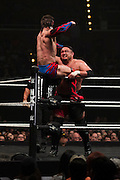 Finn Balor punches Samoa Joe during NXT Takeover: Dallas on April 1, 2016 in Dallas, Texas.