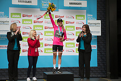 Claudia Lichtenberg (GER) of Wiggle Hi5 Cycling Team celebrates the best climber's jersey after the Tour de Yorkshire - a 122.5 km road race, between Tadcaster and Harrogate on April 29, 2017, in Yorkshire, United Kingdom.