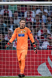 goalkeeper Vassilis Barkas of AEK Athens during the UEFA Champions League group E match between Ajax Amsterdam and AEK FC at the Johan Cruijff Arena on September 19, 2018 in Amsterdam, The Netherlands