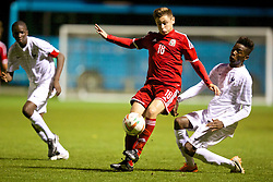 NEWPORT, WALES - Thursday, September 25, 2014: Wales' Ryan Stirk in action against France during the Under-16's International Friendly match at Dragon Park. (Pic by David Rawcliffe/Propaganda)